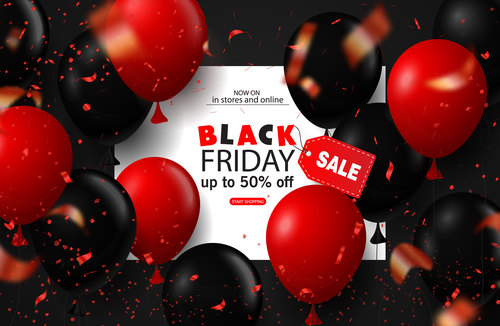 Black friday sale background with balloons and serpentine. Modern design.Universal vector background for poster, banners, flyers, card.